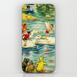 """""""Duck Racing in the Pond"""" by Margaret Tarrant iPhone Skin"""