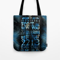 fandom Tote Bags featuring Fandom Motto by Tracey Gurney