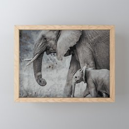 Mother and Calf Framed Mini Art Print