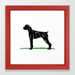 Boxer Personalized Name Silhouette by Julia Sabrosky Framed Art Print