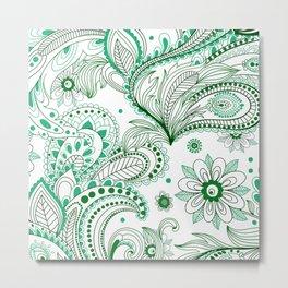 Green Scale Boho Flowers Metal Print