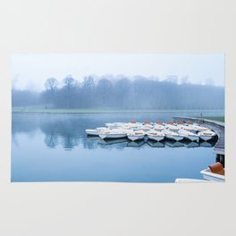Canoes On A Foggy Lake Rug