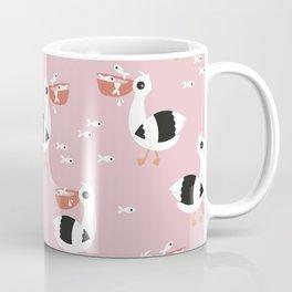 Sweet pelican birds fish friends illustration pattern design pink Coffee Mug
