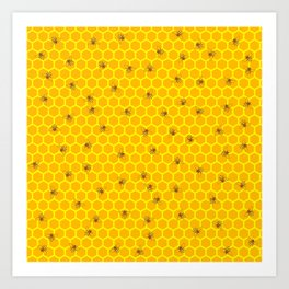 Mind Your Own Beeswax / Bright honeycomb and bee pattern Art Print
