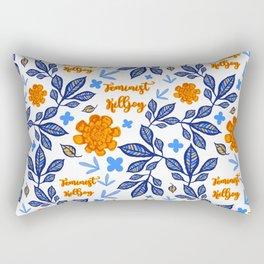 Blue and Orange Floral Feminist Killjoy Print Rectangular Pillow