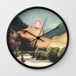 Bubble gum girl Wall Clock