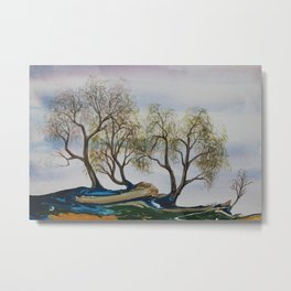 Willowy Trees in Spring Metal Print