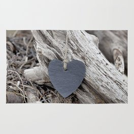 Beach Love Slate Heart on sea washed driftwood Rug