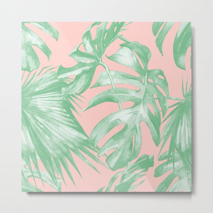 Island Love Seashell Pink Coral + Green Metal Print