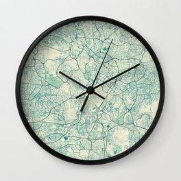 Kuala Lumpur Map Blue Vintage Wall Clock