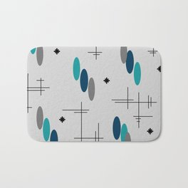 Ovals and Starbursts Teal Bath Mat