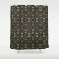 dna Shower Curtains featuring Rainbow DNA by robyriker