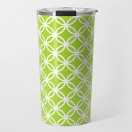 Green and white interlocking circles Travel Mug
