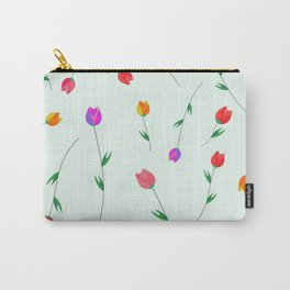 Pattern of tulips. Tulips scattered on the web Carry-All Pouch