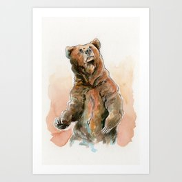 Brown Bear Grizzly in Gouache Art Print