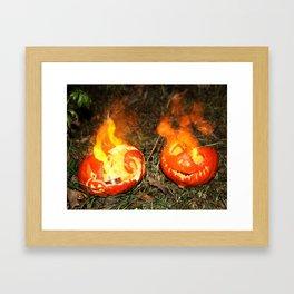 Flaming Pumpkins Framed Art Print