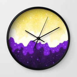 Nonbinary Pride Flag Galaxy Wall Clock