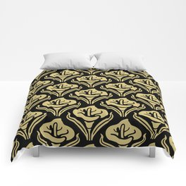 Calla Lily Pattern Black and Gold Comforters