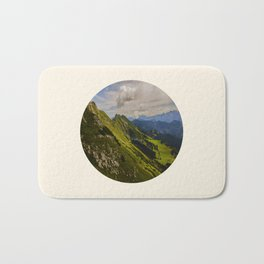 Green Musical Mountains Round Photo Frame Bath Mat