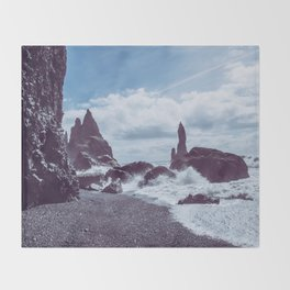 Raging Reynisdrangar Throw Blanket