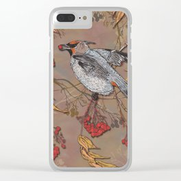 Waxwing Winter Feast Clear iPhone Case