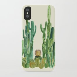 In my happy place - hedgehog meditating in cactus jungle iPhone Case