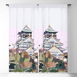 Geometric Osaka castle, Japan Blackout Curtain