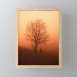 digital oil painting of a surreal foggy landscape in orange  Framed Mini Art Print