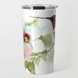 Hummingbird and White Magnolia Travel Mug