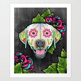 Labrador Retriever - Yellow Lab - Day of the Dead Sugar Skull Dog Art Print