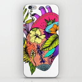 Corazón con flores iPhone Skin