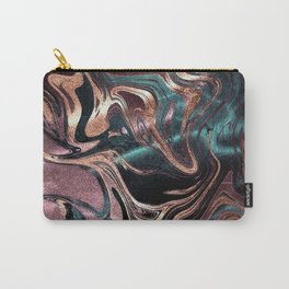 Metallic Rose Gold Marble Swirl Carry-All Pouch