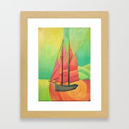 Cubist Abstract Sailing Boat Framed Art Print