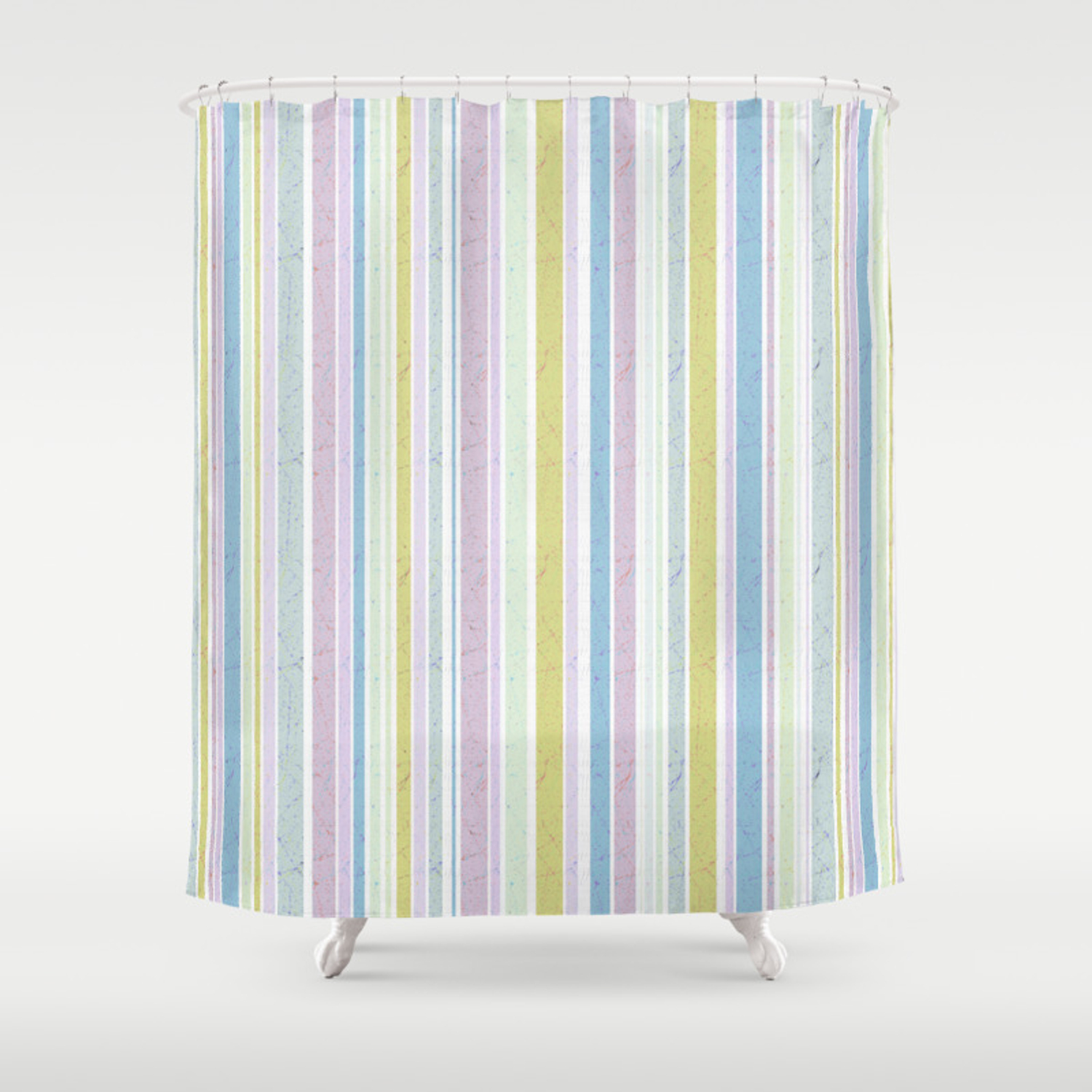 Multicoloured Striped Pattern In Pastel Shades Shower Curtain