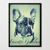 pugs Canvas Prints featuring Pugs by Gianluca Fascetto Tattooer Painter