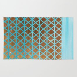 Turquoise, Triangles Gold Rug