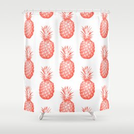 Coral Pineapple Shower Curtain
