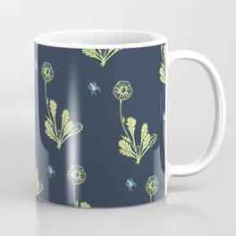 Spider Daisies (green + navy) Coffee Mug