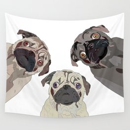 Triple Pugs Wall Tapestry