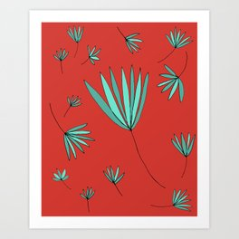 Teal and Red Botanical Nature Drawing by Emma Freeman Designs Art Print