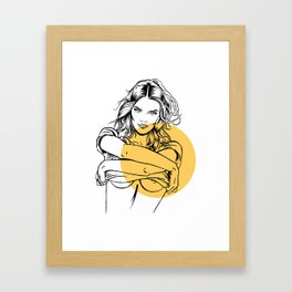 Sexy woman taking off a T-shirt, from Inner world series, #011 Framed Art Print