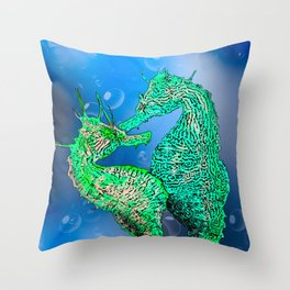 Seahorse dance Throw Pillow