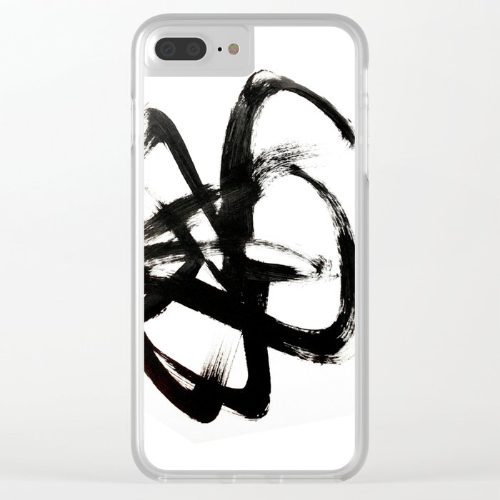 Brushstroke 4 - a simple black and white ink design Clear iPhone Case