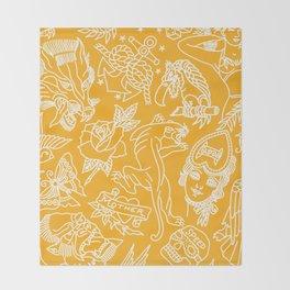 Mustard print Throw Blanket