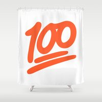 emoji Shower Curtains featuring 100 EMOJI by Nolan Dempsey