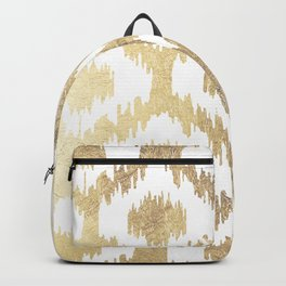 Modern white hand drawn ikat pattern faux gold Backpack