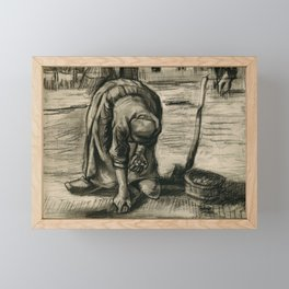 Vincent Van Gogh Peasant Woman Planting Potatoes Framed Mini Art Print
