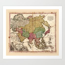 Map of Asia (1743) Art Print