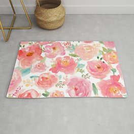 Pink Peonies Watercolor Pattern Rug