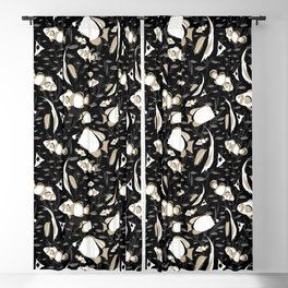 Tropical Angelfish Cool Black and White Pattern Blackout Curtain